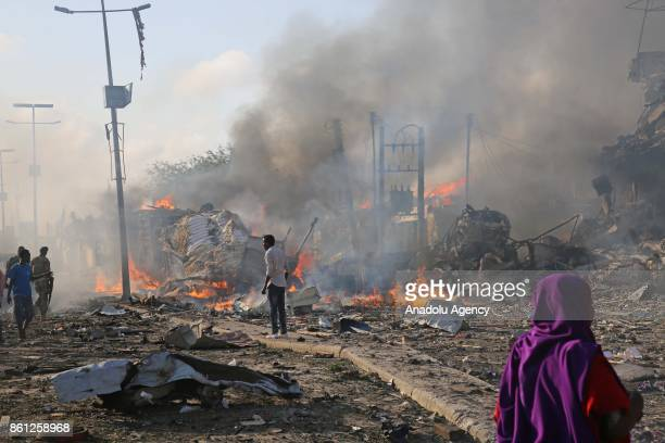 Scene of a massive explosion is seen in the capital Mogadishu Somalia on October 14 2017 At least 20 people have died and many others injured after a...