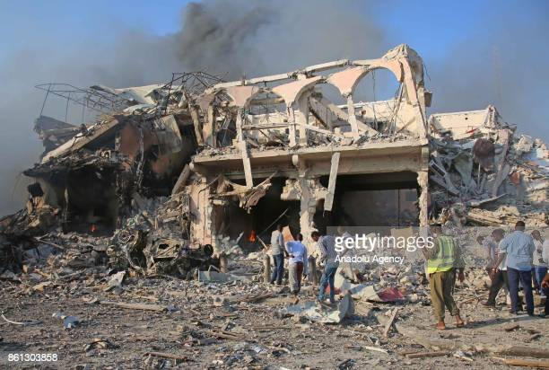 Scene of a massive explosion is seen in the capital Mogadishu Somalia on October 14 2017 At least 23 people have died and many others injured after a...