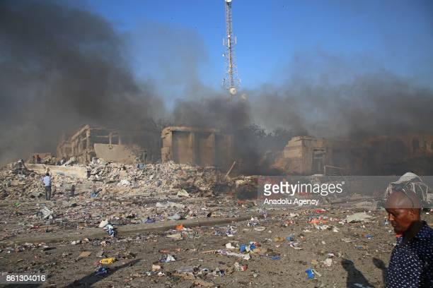 Scene of a massive explosion is seen in the capital Mogadishu, Somalia on October 14, 2017. At least 23 people have died and many others injured...