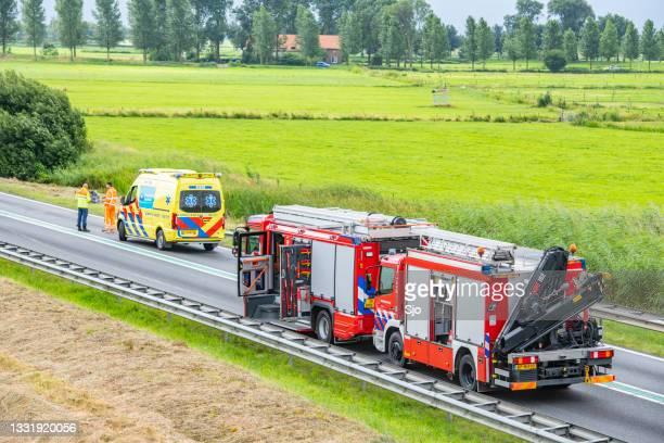 """scene of a severe car accident on the n50 road near kampen, netherlands - """"sjoerd van der wal"""" or """"sjo"""" stock pictures, royalty-free photos & images"""