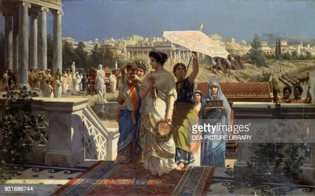 Scene of ancient Rome by Prospero Piatti oil on canvas 665x105 cm