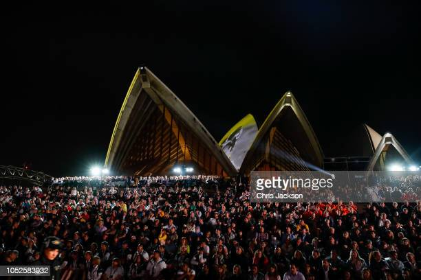 Scene of atendee on the operha house steps watching the perfromances during the Invictus Games Sydney 2018 Opening Ceremony at Sydney Opera House on...