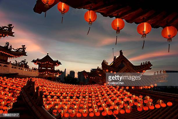 Scene of chinese temple with lanterns