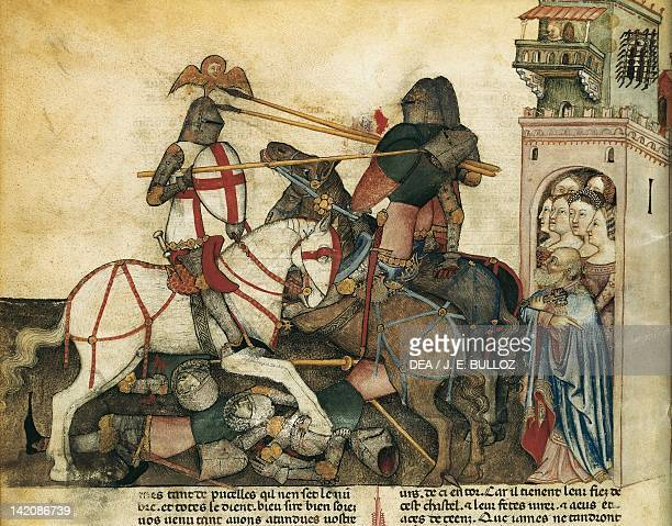 Scene of chivalry miniature from Lancelot of the Lake manuscript France 15th Century