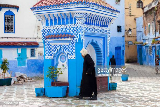 Scene of daily life in a square of Chefchaouen April 2018