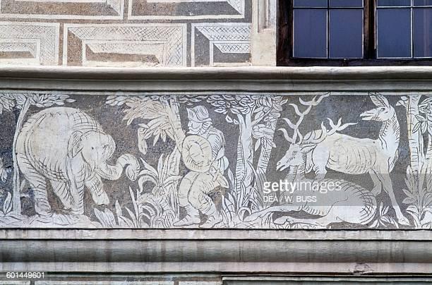 Scene of deer and elephant hunting fresco along the exterior wall of Krasiczyn castle Subcarpathian Voivodeship Poland 16th century