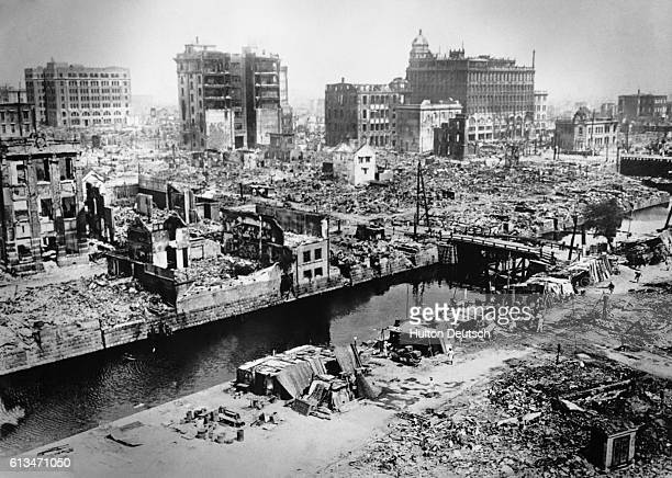 Scene of destruction showing the Nihombushi ruins, Tokyo, after the 1923 earthquake.