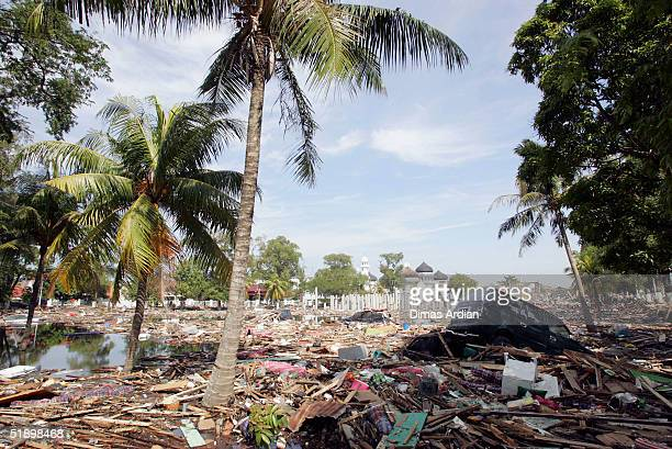A scene of devastation is seen in the tsunami hit Indonesian City of Banda Aceh 150 miles from southern Asia's massive earthquake's epicenter on...