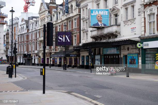 Scene of empty deserted streets on Shaftesbury Avenue with theatres closed as the national coronavirus lockdown three continues on 5th March 2021 in...