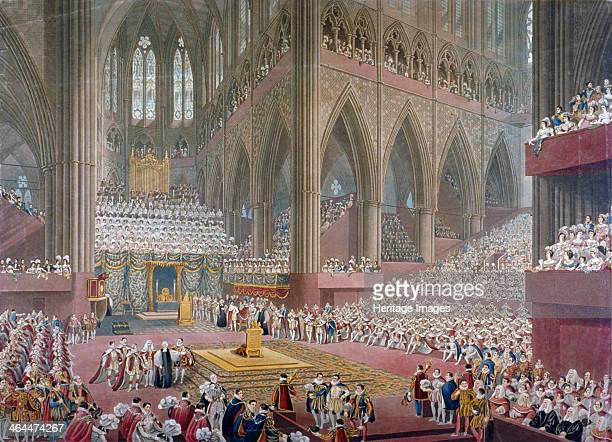 Scene of George IV's coronation in the choir of Westminster Abbey 1821 View showing the king approaching the throne flanked by figures in ceremonial...