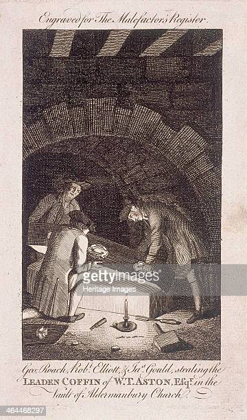 Scene of George Roach Robert Elliott and James Gould stealing the leaden coffin of WT Aston in the vault of St Mary Aldermanbury London 1778