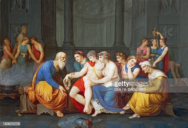 Scene of Greek life Socrates rebukes Alcibiades in the harem by Giovanni Battista Cigola oil on vellum 48x68 cm Ancient Greece 5th century BC