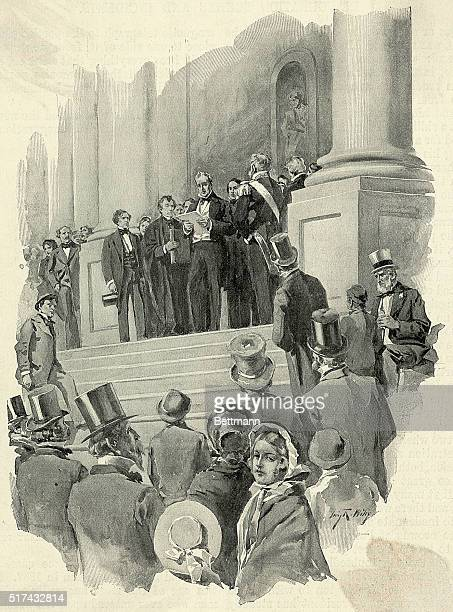 Scene of James Buchanan's inauguration on the steps of the White House Water color