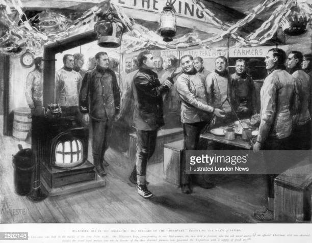A scene of jollity during Scott's first Antarctic expedition The officers visit the men's quarters on the Discovery during a celebration of the polar...