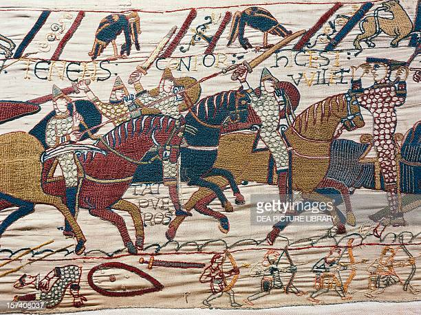 Scene of knights in battle detail from the Bayeux tapestry or the Tapestry of Queen Matilda France 11th century