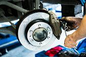 Scene of mechanic assembling Car DiscBrake