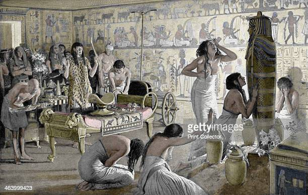 Scene of mourning at the funerary temple of Tutankhamun Egypt 1325 BC The discovery of Tutankhamun's tomb in 1922 by British archaeologist Howard...