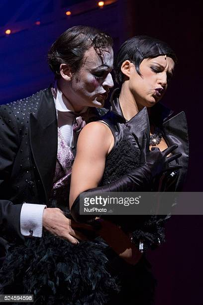 "Scene of ""Cabaret, the Broadway musical"" at the Rialto Theatre in Madrid's Gran Via. Spain on September 25, 2015. Set in Berlin in 1931,..."
