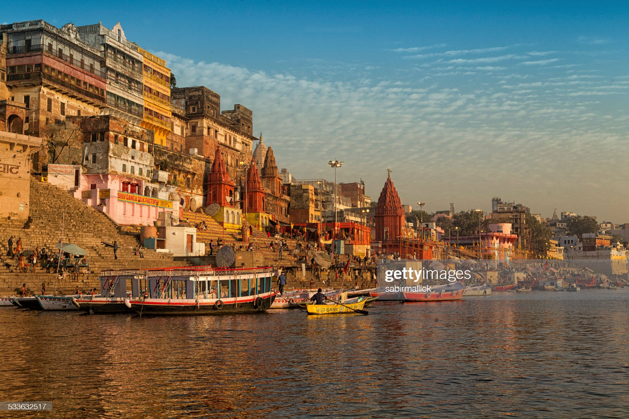 Scene of River Ganges, Varanasi, India. : Stock Photo