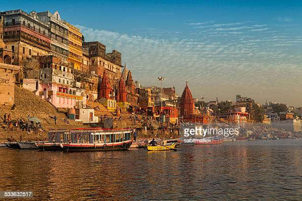 scene of river ganges, varanasi, india. - varanasi stock pictures, royalty-free photos & images