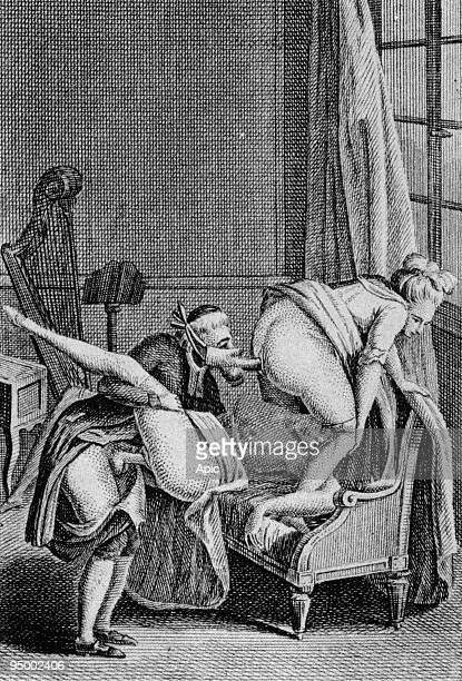 a priest making love with a woman and sodomizing another one anonymous engraving illustrating book 'Le diable au corps oeuvre posthume du tres...