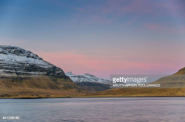 Scene of snow mountain and lake in Iceland