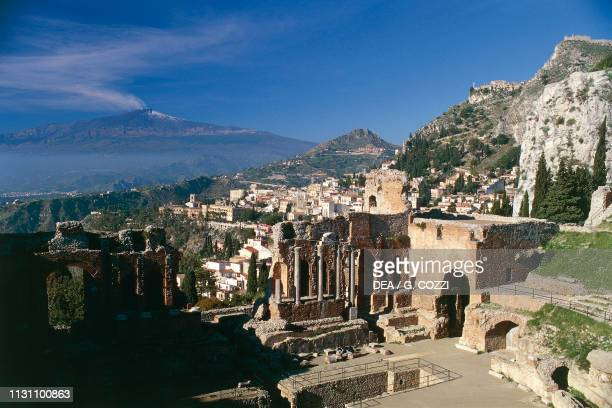 Scene of the ancient Theatre Taormina Sicily Italy Hellenistic and Roman civilization 3rd century BC2nd century AD