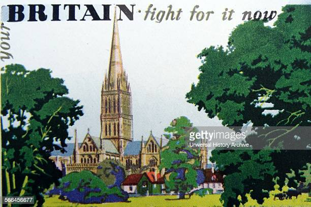 scene of the British countryside intending to inspire patriotism during World War two 1940 the view is of Salisbury Cathedral designed by Frank...