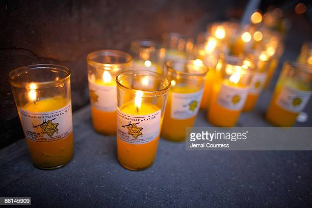 Scene of the candles used in the candlelighting ceremony held to commemorate Holocaust Remembrance Day at Walter Kerr Theatre on April 21 2009 in New...