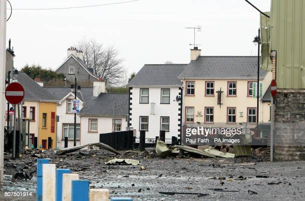 Scene of the car bomb attack in Newtownhamilton County ArmaghTwo people have been injured in a car bomb explosion outside a police station in...