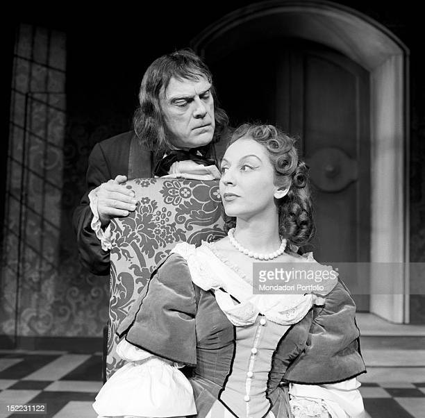 A scene of the comedy 'Tartuffe' by Molière the actor Memo Benassi intepreting the role of Tartuffe discloses his secret love for Elmire Orgon's wife...