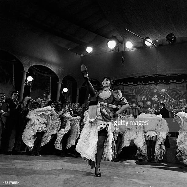 Scene of the French cancan in the red mill in a broadcast reconstitution of Toulouse Lautrec's life by Gilles Margaritis