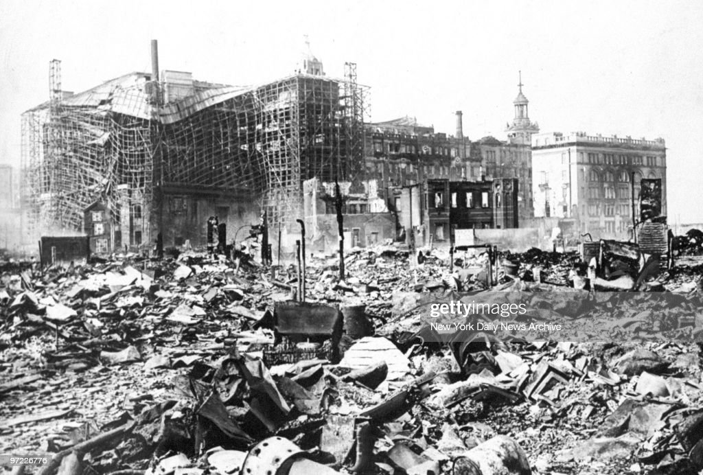 Scene of the main business district where most of the earthquake damage was wrought. In the background is the Mitsukoshi department store, which was one of the largest buildings in Tokyo prior to the earthquake.