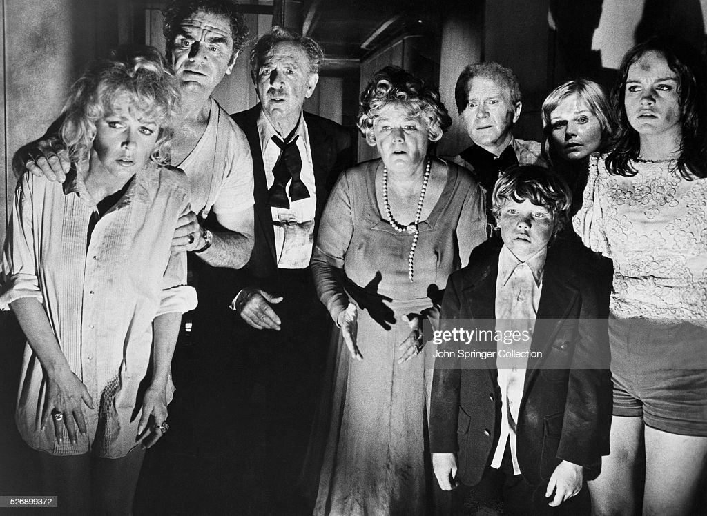 Scene of the movie 'The Poseidon Adventure, ' 1972. This scene shows (LtoR) Stella Stevens, Ernest Borgnine, Jack Albertson, Shelley Winters, Red Buttons, Carol Lynley and Pamela Sue Martin.