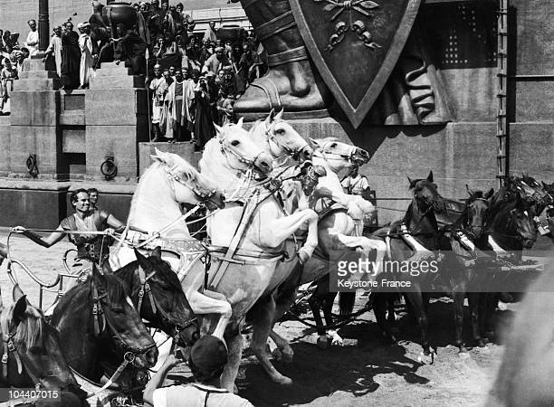 Scene of the mythical movie BEN HUR shot in 19581959 in the Hollywood studios Charlton HESTON young Jew survivor from the galleys and whose wife and...