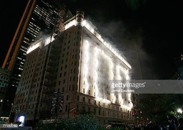Scene of The Plaza Hotel during the fireworks display commemerating the 100th Anniversary of the Plaza Hotel on October 1, 2007 in New York City
