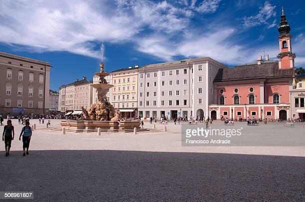 Scene of the square of the residence with its fountain Salzburg Austria.