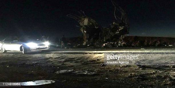 Scene of the suicide attack on a Revolutionary Guards bus on KhashZahedan road in Iran's Sistan and Baluchestan Province on February 13 2019 At least...