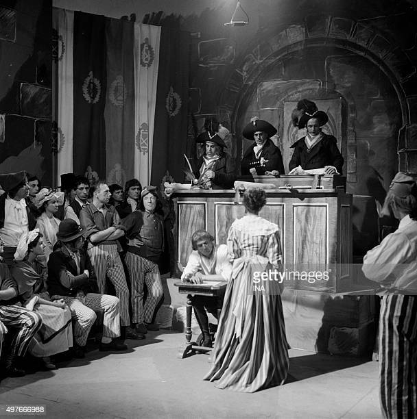 Scene of the trial in the drama realized by Maurice Cazeneuve 'the Knight of MaisonRouge'