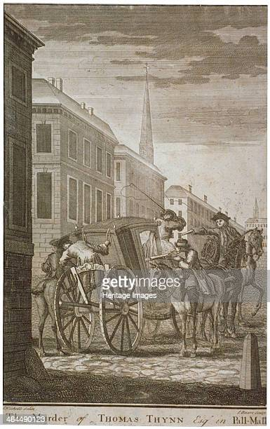 Scene of Thomas Thynne's murder in Pall Mall Westminster London 1682 Scene showing two men on horseback shooting their victim in his carriage A...
