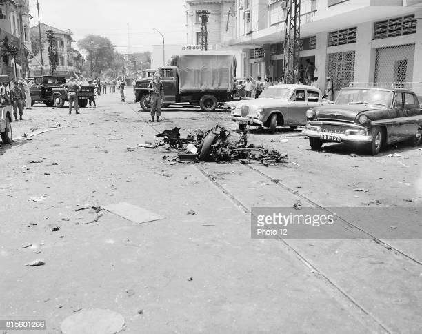 Scene of Vietcong North Vietnamese terrorist bombing in Saigon Republic of Vietnam 1965