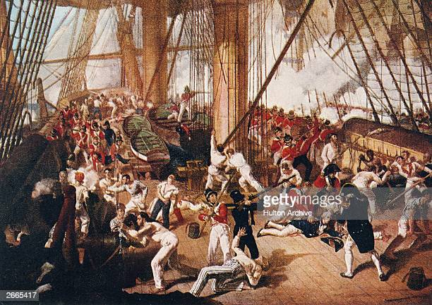 A scene on board HMS Victory during the battle of Trafalgar at the moment her captain Admiral Horatio Nelson is hit