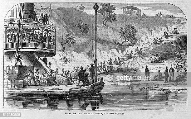 Scene on the Alabama River Loading Cotton Illustration