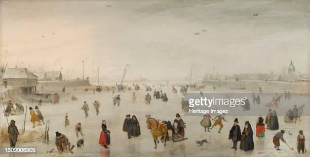 Scene on the Ice, circa 1625. Artist Hendrick Avercamp. .
