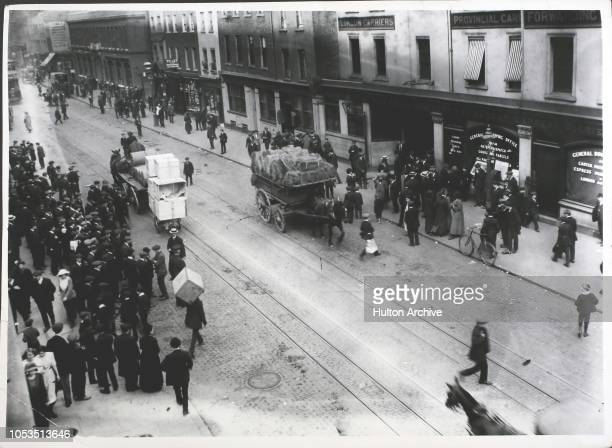 Scene outside the head offices of Carter Paterson's in Goswell Road London during a strike by the drivers