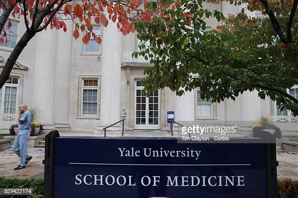 Scene outside the Sterling Hall of Medicine near Yale New Haven Hospital in New Haven, Connecticut. Officials say that Yale-New Haven Hospital is...