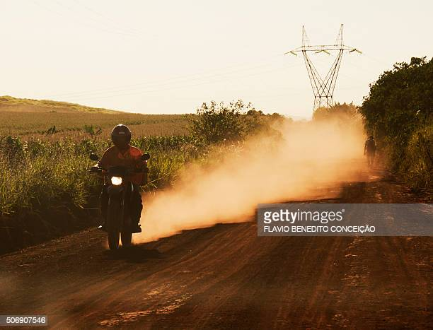 scene rural road dusty red earth