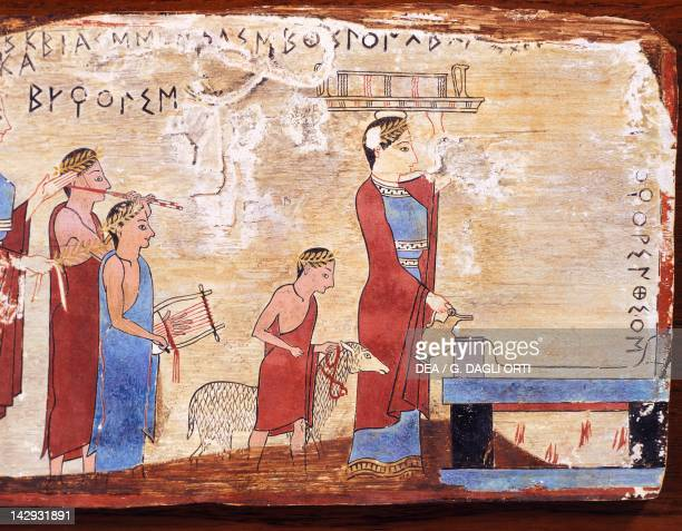 Scene showing a sacrifice painted tablet from Pitsa Greece Greek Civilization 6th Century BC Athens Ethnikó Arheologikó Moussío