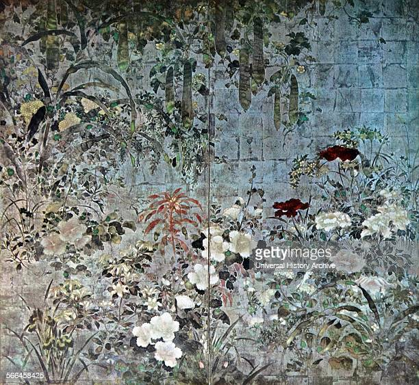 scene showing a tree with pods as well as flowers two panels from a japanese screen by Youkoku 17th century