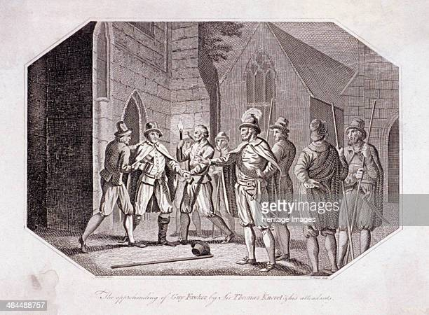 Scene showing the capture of Guy Fawkes c1605 Fawkes was captured by Sir Thomas Knevet and his attendants at the Houses of Parliament in Westminster